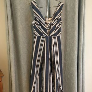 Altar'd State Blue and White Striped Jumpsuit